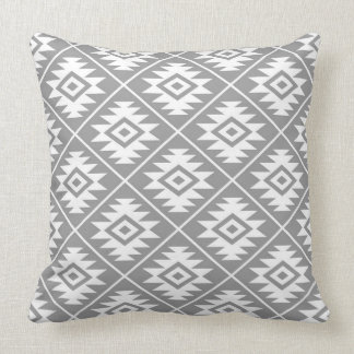 Aztec Symbol Stylized Pattern White on Gray Throw Pillow