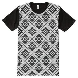 Aztec Symbol Stylized Rpt Pattern Black on White All-Over-Print T-Shirt