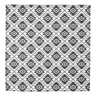 Aztec Symbol Stylized Rpt Pattern Black on White Duvet Cover