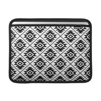 Aztec Symbol Stylized Rpt Pattern Black on White MacBook Sleeve