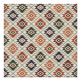Aztec Symbol Stylized Rpt Pattern Color Mix Poster