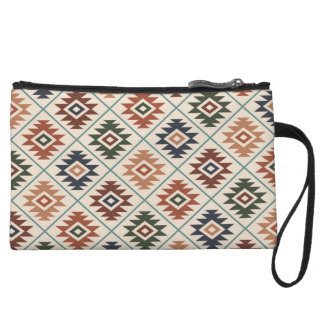 Aztec Symbol Stylized Rpt Pattern Color Mix Wristlet