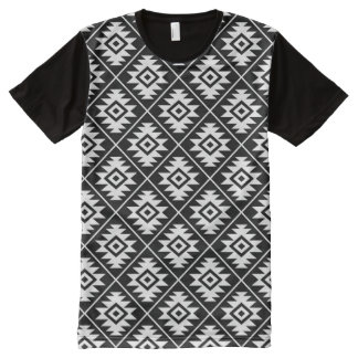 Aztec Symbol Stylized Rpt Pattern White on Black All-Over-Print T-Shirt