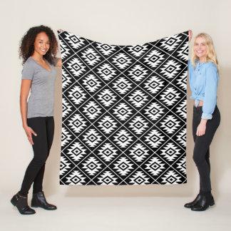 Aztec Symbol Stylized Rpt Pattern White on Black Fleece Blanket