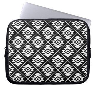 Aztec Symbol Stylized Rpt Pattern White on Black Laptop Sleeve
