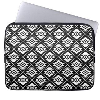 Aztec Symbol Stylized Sml Pattern White on Black Laptop Sleeve