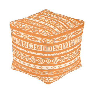 Aztec Tribal Ethnic Geometric Pattern Orange Ivory Pouf