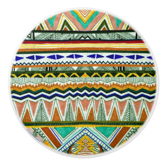 Aztec Tribal Fine Abstract Nature Print Ceramic Knob