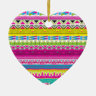Aztec tribal Hipster Ceramic Heart Ornament
