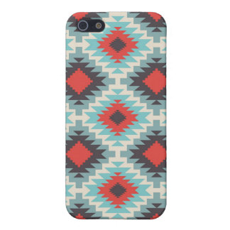 Aztec Tribal Native American Red Blue Pattern iPhone 5/5S Cases