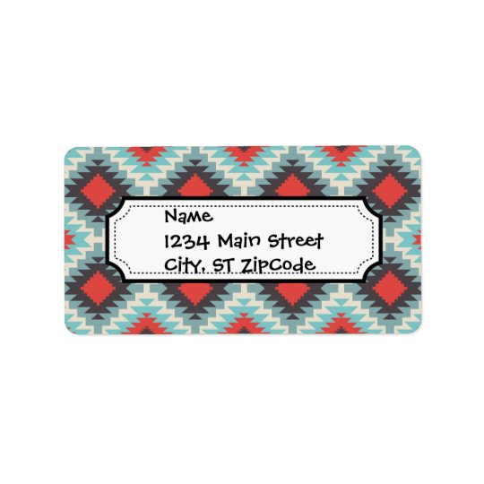 Aztec Tribal Native American Red Blue Pattern Label
