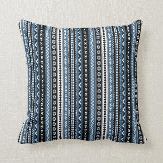 Aztec Tribal Pattern / Blue Grey White Black Throw Pillow