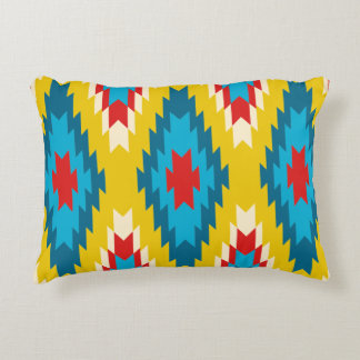 Aztec Tribal Pattern Yellow Red Blue Decorative Pillow