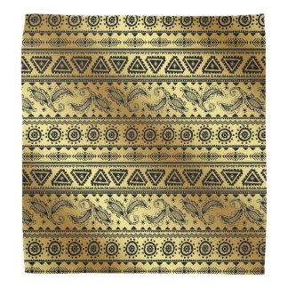Aztec Tribal Print Neutral Black & Gold bandana