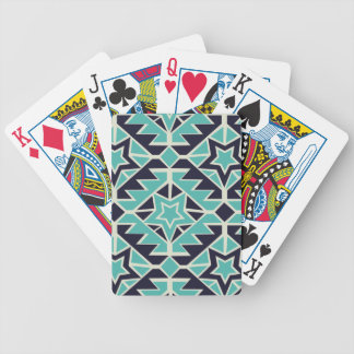 Aztec turquoise and navy bicycle playing cards