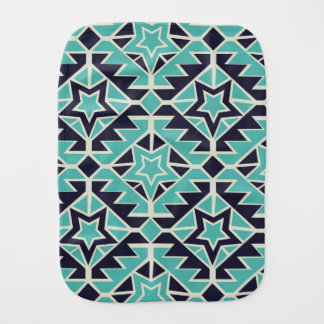 Aztec turquoise and navy burp cloth