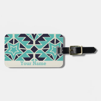 Aztec turquoise and navy luggage tag