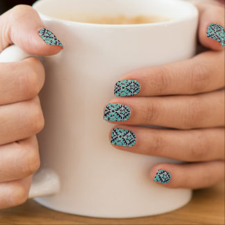 Aztec turquoise and navy minx nail art