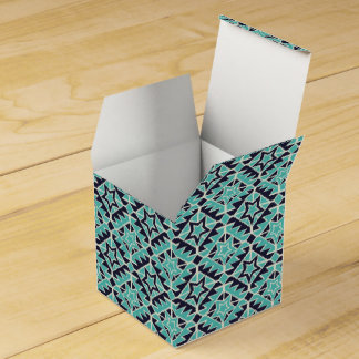 Aztec turquoise and navy party favor boxes
