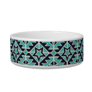 Aztec turquoise and navy pet food bowls