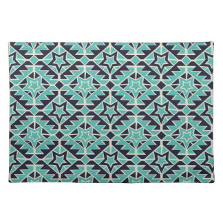 Aztec turquoise and navy place mat