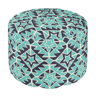 Aztec turquoise and navy pouf
