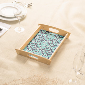 Aztec turquoise and navy serving tray
