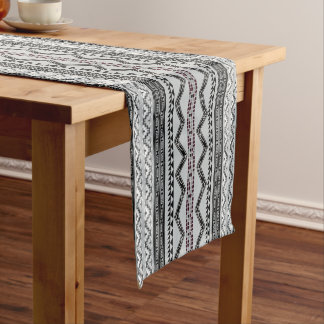 Aztec  Zigzag Abstract Geometric Pattern Short Table Runner