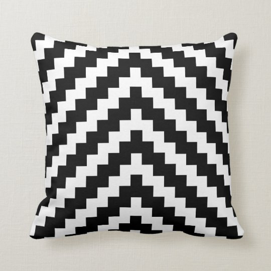 Aztec ZigZag Pattern in Black and White Throw Pillow