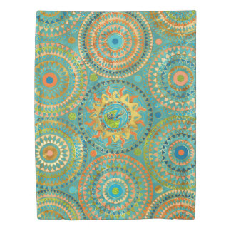 Aztect Lizard in sun symbol on  geometric pattern Duvet Cover