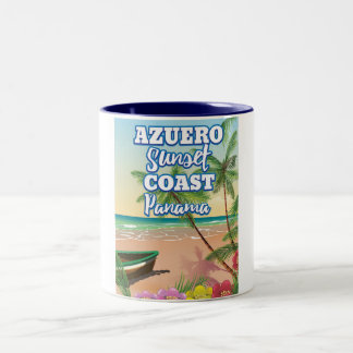 Azuero Sunset Coast Panama Beach travel poster Two-Tone Coffee Mug