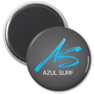 Azul Surf Brush Style 2 Inch Round Magnet