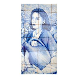 Azulejo mural photo card template