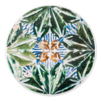 Azulejo Pattern Green Leaves Ceramic Knobs