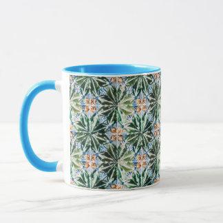 Azulejo Pattern Green Leaves Mugs