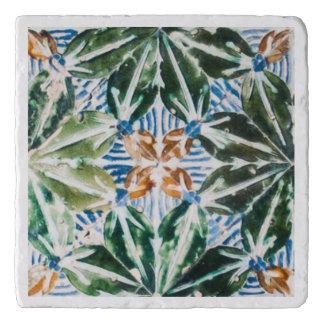 Azulejo Pattern Green Leaves Trivet