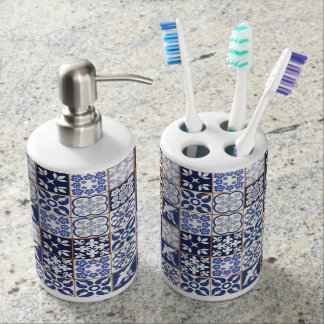 Azulejos Pattern Bathroom Accesories Bathroom Set