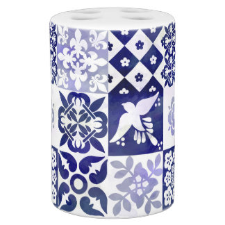 Azulejos Pattern Bathroom Accesories Soap Dispenser And Toothbrush Holder