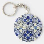 Azulejos, Portuguese Tiles Basic Round Button Keychain