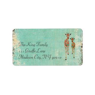 Azure & Amber Giraffe Vintage  Address Label