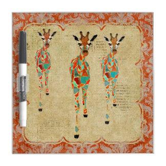 Azure & Amber Giraffes Dry Erase Board