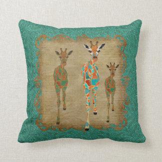 Azure & Amber Giraffes  Shadows MoJo Pillows