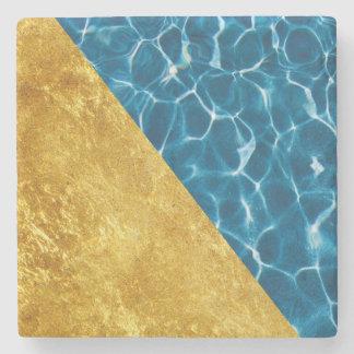 Azure and Gold Stone Coaster