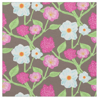 Azure and pink flowers fabric