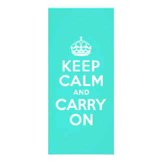 Azure and Turquoise Keep Calm and Carry On Personalized Rack Card