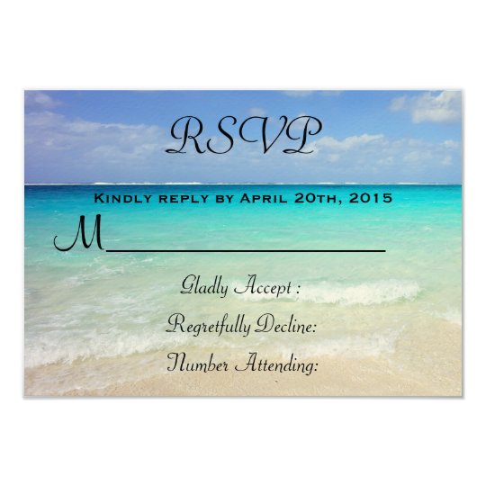 Azure Blue Caribbean Tropical Beach RSVP Card