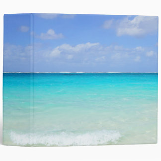 Azure Blue Caribbean Tropical Beach Vinyl Binder