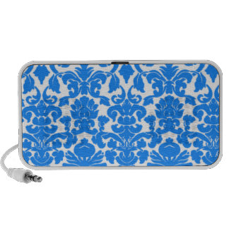Azure Blue Damask Pattern Mini Speaker