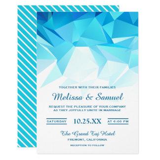 Azure Blue Geometric Origami Wedding Invitation