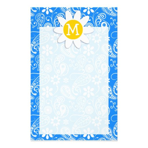 Azure Blue Paisley; Floral; Daisy Stationery Paper